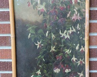 Antique VICTORIAN FUCHSIA Pink & White Floral Flowers Painting on WOOD Salvage Screen Part c1900