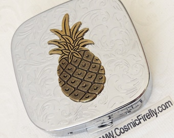 Pineapple Pill Case Tiki Pill Box Steampunk Pill Case Mirror Case Silver Plated Metal Pill Case Gothic Victorian Steampunk Accessories Tiki