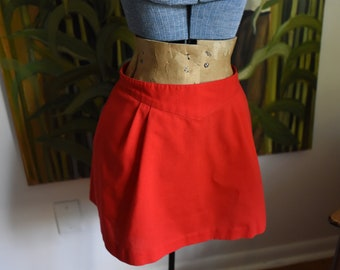 FREE SHIPPING - Small / Size 6 - Cute Red Mini Skirt