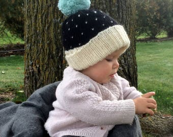 Knit Baby Pom Pom Hat | Black and White| Baby Boy | Baby Girl | Teal Fair Isle Winter Hat