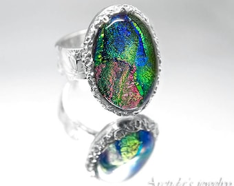 Dichroic glass cocktail ring size 8 Fine silver statement ring patterned fine jewelry large ring wide band Ready to Ship
