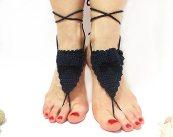 Crochet barefoot sandals, black, bow, beach wedding shoes, bottomless sandals, footless bride sandals, bohemian wedding, toe thong, yoga toe