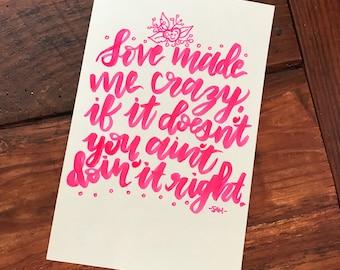 Handlettered MINI Taylor Swift Lyric Art Print