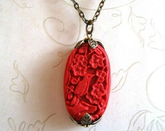 Red Bird Necklace, long chain, Christmas gift, carved bead, cinnabar pendant, holiday necklace