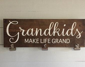 Grandkids picture holder sign, grandparents picture, grandparent picture holder, grandparents gift, grandkids make life grand, gift grandma