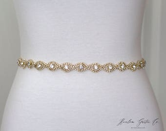 Gold Rhinestone Belt, Crystal Bridal Belt, Bridal Sash, Wedding Belt, Wedding Sash Rhinestone Sash B19G