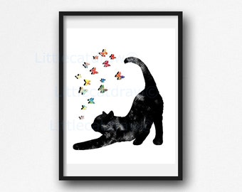 Cat Print Stretching Black Cat With Colorful Butterflies Watercolor Print Black Cat Watercolour Wall Art Wall Decor Cat Lover Gift Unframed