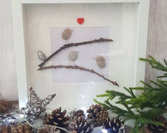 Pebble art BIRDS box frame picture