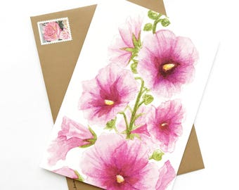 Watercolor Pink Hollyhock Greeting Card Blank Inside 5x7 with Envelope