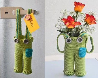 crochet pattern tutorial decoration all-purpose-trouser for easter, x-mas, utensil holder, vase, gift