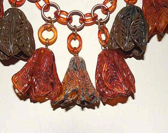 "Vintage Art Deco Celluloid Necklace; Amber Bell Flower Dangle Drops; Copper tone Rings – 17""; Statement Jewelry; Bold; Unique"