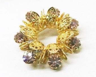 Lavender Brooch - Vintage, Gold Tone, Purple Rhinestone Pin