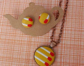 Yellow Matchstick Earrings & Pendant Necklace- Matching Set
