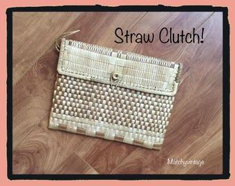 FREE SHIPPING | Straw Clutch | Raffia Bag | Beach Purse | Woven Handbag
