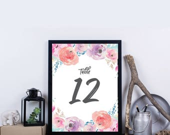 Instant Download - Floral Watercolor Table Number 1-30 - Summer DIY Printable Table Numbers - Haven