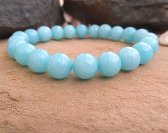 Amazonite gemstone bracelet amazonite bracelet yoga bracelet 8mm bead bracelet healing gemstone throat chakra gemstone jewelry gift.