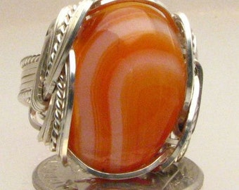 Handmade Wire Wrapped Stripped Sardonyx Sterling Silver Ring. Custom Personalized Sizing to fit you.