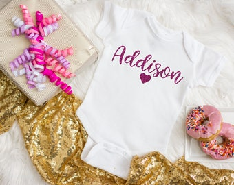 Personalized Girl Name Shirt - Gift for Pregnant Friend - Best Unique Baby Girl Gifts - Going Home Outfit Newborn Girl
