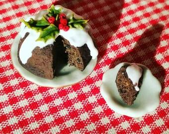 Dollhouse Christmas Cake, Miniature Christmas Food