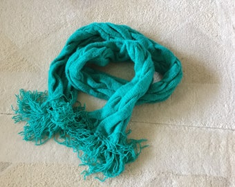 Hand knitted cable pattern scarf