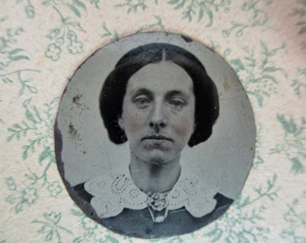 antique miniature gem tintype photo - 1800s, woman with rosy cheeks,  lace collar
