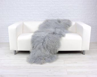 Giant genuine Icelandic DOUBLE sheepskin rug dyed silver grey 195cm x 80cm D11