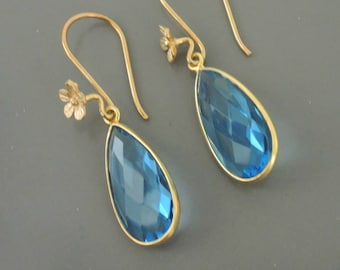 Gold Earrings - Blue Earrings - Teardrop Earrings - Bridal Earrings - Light Sapphire Glass Earrings - handmade jewelry