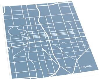 Wichita City Map Art Print / Kansas Art Wichita State University Grad Gift / 8x10 Dorm Decor / Choose your color