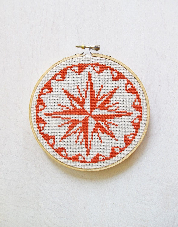 Compass rose pdf cross stitch pattern sailor
