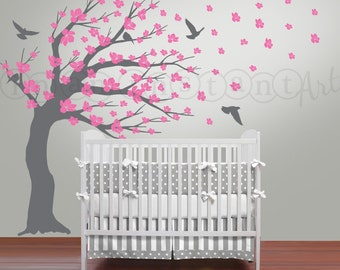 Blowing Cherry Blossom Tree Wall Decal, Blossom Tree for Baby Nursery, Kids or Childrens Room 111