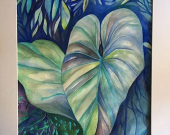 Fantasy Garden   Original Watercolor Art Painting 20 X 16 Matted Size 24 X 20 Blues
