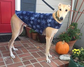 Greyhound Dog Coat, Extra Large Dog Coat, Navy Blue, & White Snowflake Print Fleece with Baby Blue Fleece Lining