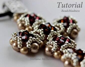 pdf tutorial beaded cross Swarovski crystals seed beads beadweaving