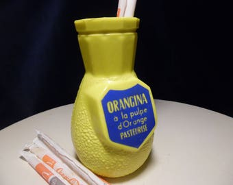 ORANGINA door straws Opalex yellow - advertising Orangina - Orangina fifties - Vintage advertisement - advertising fifties - advertising France