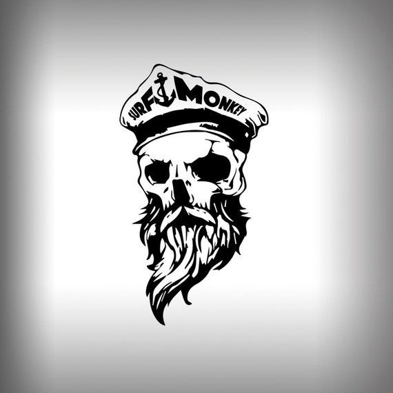 Bearded skull surfmonkey gear decals stickers car decal glass