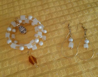 Inventory Clearance Priced -- Beaded Wrapped Wire Bracelet and Earring Sets