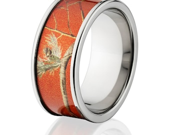 New 10mm Titanium Licensed RealTree Red Camo Ring Camo Wedding Bands Red RealTree Titanium Wedding Rings : 10F-19-RED