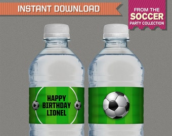 Soccer Party Printable Birthday Bottle Labels / Napkin Rings - Editable PDF file - Print at home - Soccer Birthday - Soccer Labels