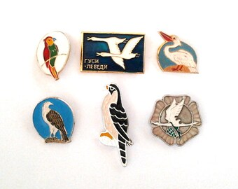 Vintage soviet children's pin badges, birds, made in USSR, 1970s