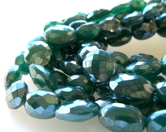 Emerald Green Mystic Coated Faceted Onyx Oval Beads 14 X 10mm - 8 inch Strand