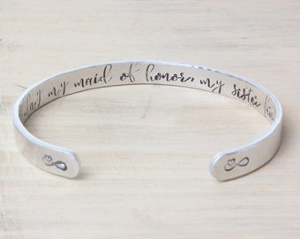 Maid of Honor Bracelet - Matron of Honor - Today my maid of honor, my sister forever - Today my maid of honor, my best friend forever