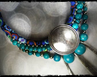 SOLD - multicolor fabric necklace with mostly blue - Teal Leather - Wood beads (rose) and silver