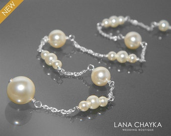 Ivory Pearl Backdrop Attachment Necklace, Swarovski Pearl Bridal Backdrop Dainty Pearl Necklace Wedding Pearl Silver Necklace Bridal Jewelry
