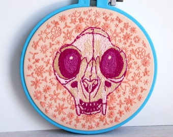 HELLO SKULLY, Embroidery Hoop Art, Vintage Hoop And Textile Cat Skull Fiber Art, Blue, Peach, Raspberry Pink Floral Hand Stitched