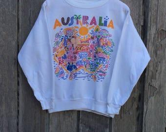 Rare! Vintage KEN DONE Australian Designer Pop Art Under Down Australia Crew Neck Pullover Sweatshirt White Colour GMHjh1UnUz