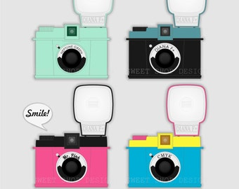 Camera Clip Art, Photography Clip Art, Camera Ilustration, Royalty Free Clipart, Diana F NO1, Instant Download