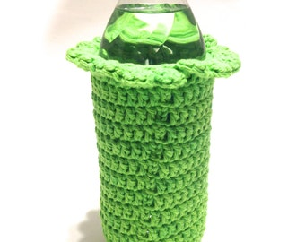 Lime Burst Crocheted 16.9 Ounce Water Bottle Cover With Ruffle