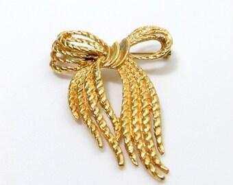 Vintage Bow Brooch, Marked Vintage Gold Tone Brooch