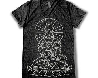 Buddha graphic print  Women's round neck T-shirts