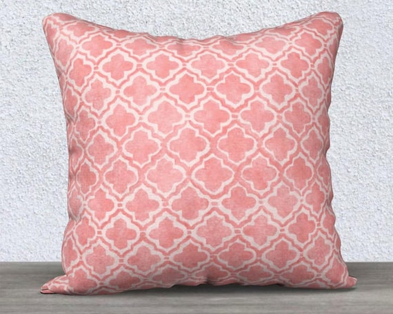 """Blush Accent Pillow Cover with Moroccan Pattern, 14""""x20"""", 18""""x18"""""""
